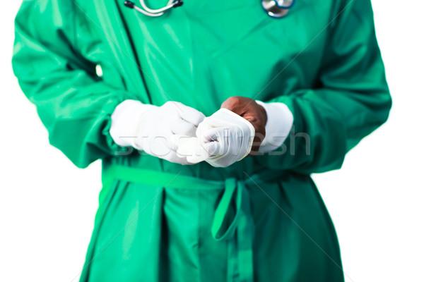 Stock fotó: Sebész · kesztyű · idős · orvosi · egészség · háttér