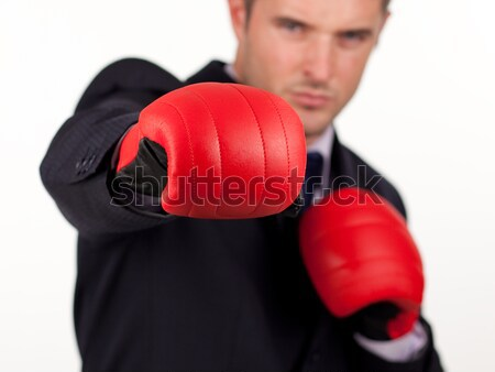 young man wearing boxing gloves Stock photo © wavebreak_media