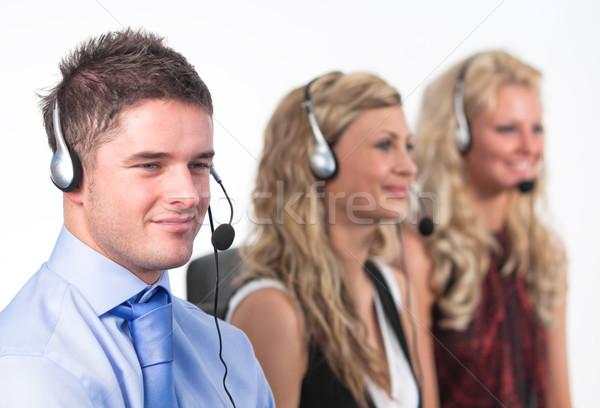 Three people in a call centre Stock photo © wavebreak_media