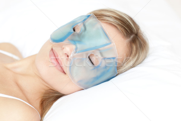 Güzel bir kadın göz jel maske beyaz kadın Stok fotoğraf © wavebreak_media