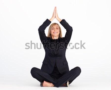 Glimlachend zakenvrouw buddha positie vloer business Stockfoto © wavebreak_media