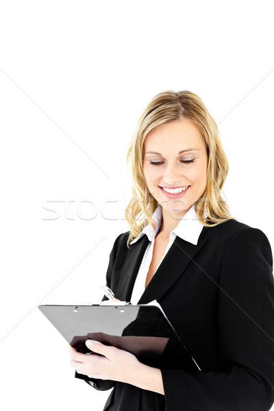Stockfoto: Positief · zakenvrouw · permanente · witte