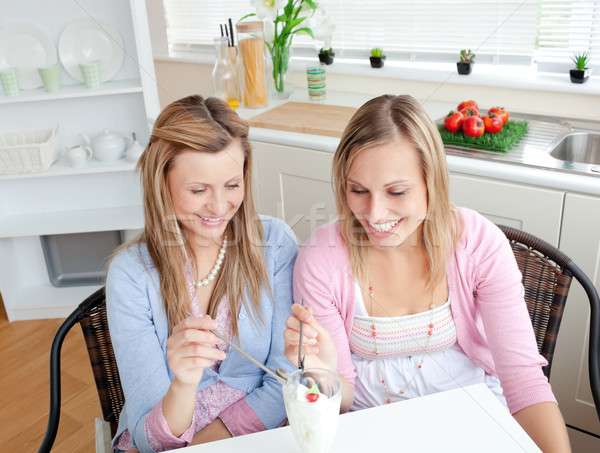 Two cute friends eating an ice-cream together sitting in the kitchen during snack time Stock photo © wavebreak_media