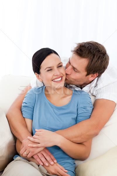 счастливым человека целоваться подруга расслабляющая диван Сток-фото © wavebreak_media