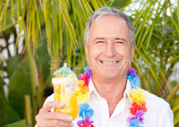 зрелый человек питьевой коктейль солнце человека лет Сток-фото © wavebreak_media
