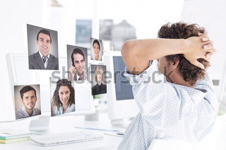 Stock photo: Montage of people having a phone conversation at home and at the office
