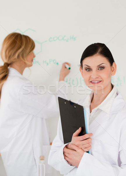 Young scientist writting a formula helped by her assistant in a lab Stock photo © wavebreak_media