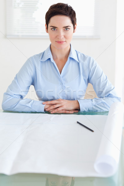 Serious short-haired businesswoman with a architectural plan in an office Stock photo © wavebreak_media