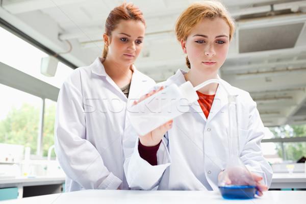 Aranyos tudósok kísérlet laboratórium nő munka Stock fotó © wavebreak_media