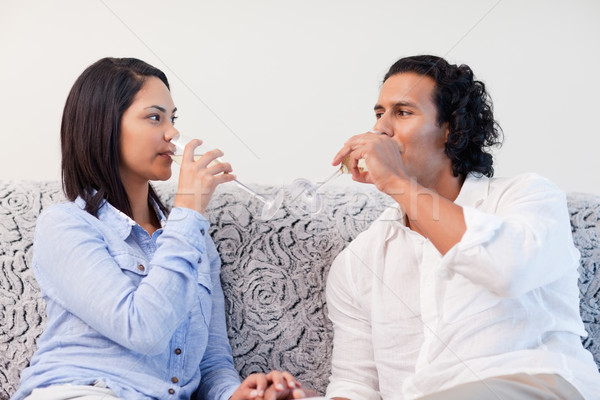Young couple drinking sparkling wine in the living room Stock photo © wavebreak_media