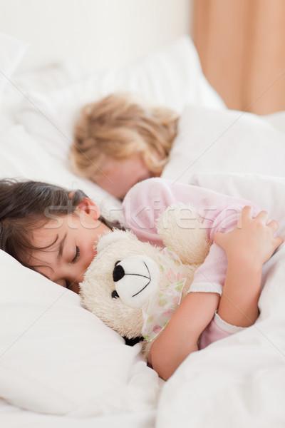 Stok fotoğraf: Portre · çocuklar · uyku · yatak · odası · aile · mutlu