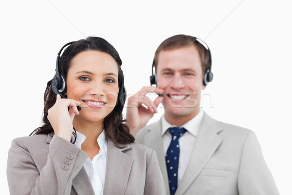 Sorridente call center equipe branco mulher homem Foto stock © wavebreak_media