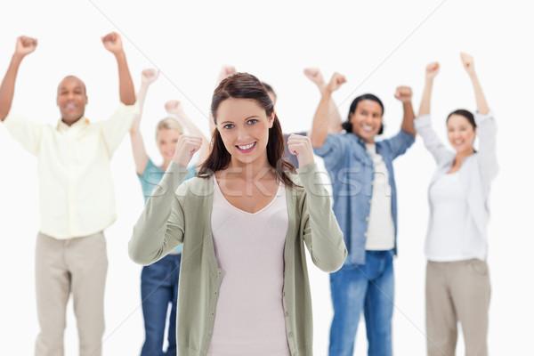 Mutlu insanlar silah odak kadın ön plan eller Stok fotoğraf © wavebreak_media