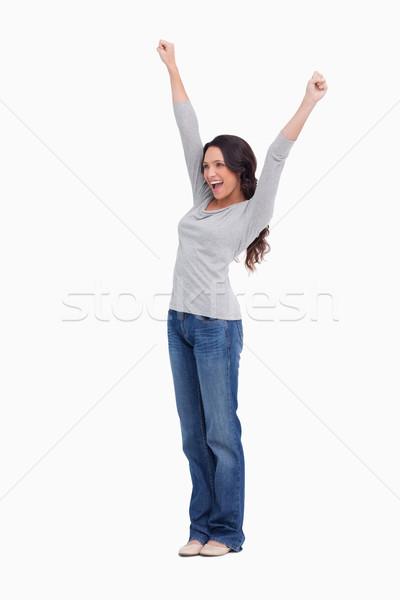 Alegre mulher jovem branco mulher mãos feliz Foto stock © wavebreak_media