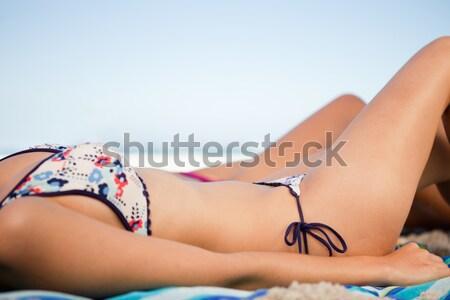 Yandan görünüş genç kadın plaj havlusu arkadaş deniz Stok fotoğraf © wavebreak_media