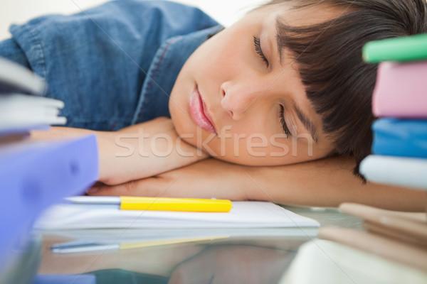 Kadın öğrenci uyku kitaplar büro Stok fotoğraf © wavebreak_media