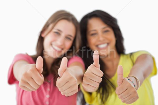 Kettő női diákok fehér barátok mosolyog Stock fotó © wavebreak_media