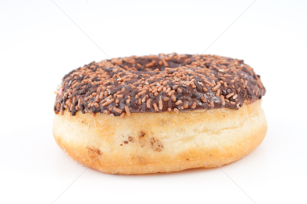 Chocolade donut glazuursuiker witte achtergrond eten Stockfoto © wavebreak_media