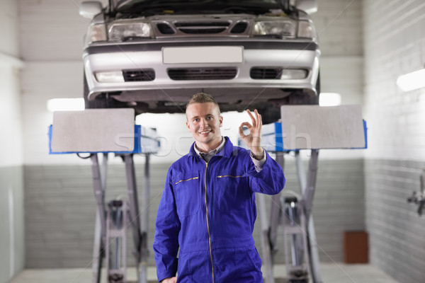 Mechanic doing a gesture with his hand in a garage Stock photo © wavebreak_media