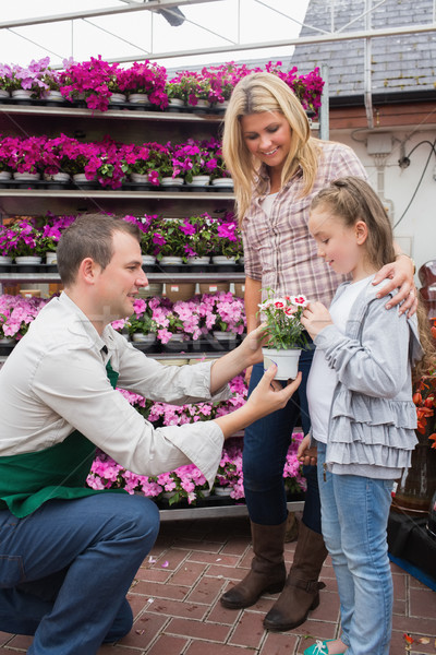 Employee giving a flower to little girl while her mother standing next to her in garden center Stock photo © wavebreak_media