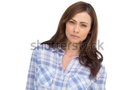 Grave donna guardando fotocamera bianco femminile Foto d'archivio © wavebreak_media