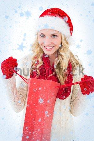 összetett kép csinos lány mikulás jelmez Stock fotó © wavebreak_media