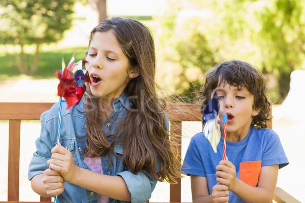Gyerekek fúj park pad aranyos fiatal srác Stock fotó © wavebreak_media
