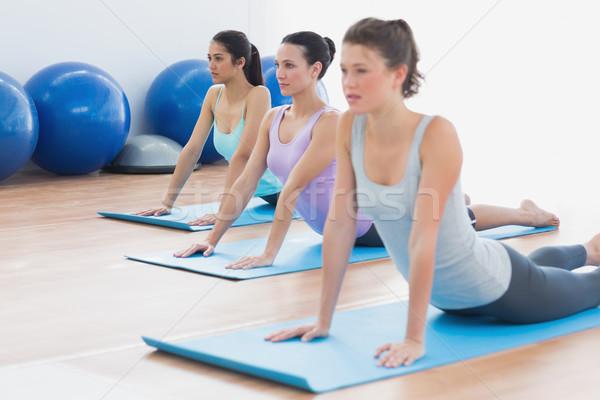 Class doing the cobra pose in fitness studio Stock photo © wavebreak_media