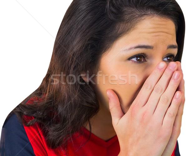 Nerveus voetbal fan Rood witte voetbal Stockfoto © wavebreak_media