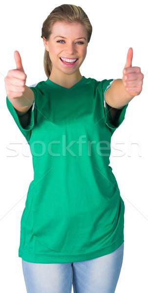 Boldog futball ventillátor zöld fehér futball Stock fotó © wavebreak_media