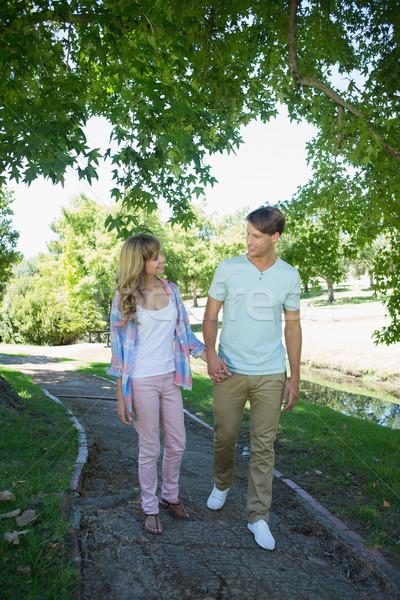 Bonitinho afetuoso casal caminhada mão parque Foto stock © wavebreak_media