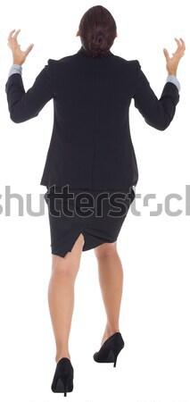 Vörös hajú nő üzletasszony kezek ki fehér vállalati Stock fotó © wavebreak_media