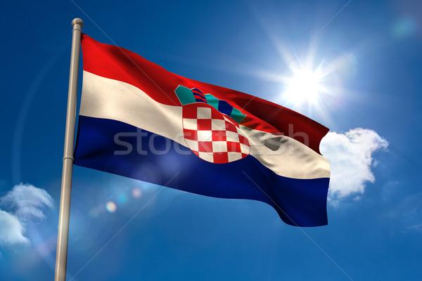 Croacia bandera asta de bandera cielo azul sol luz Foto stock © wavebreak_media