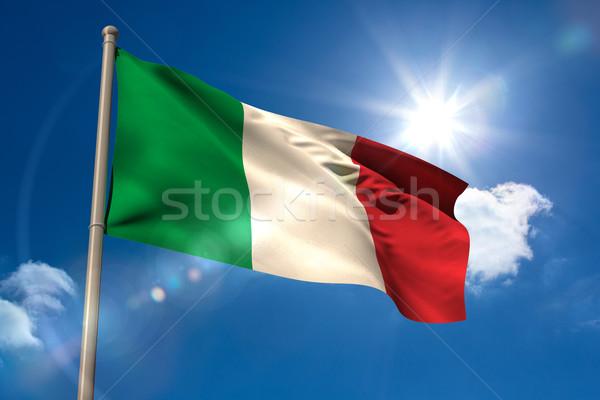 Италия флаг флагшток Blue Sky солнце свет Сток-фото © wavebreak_media