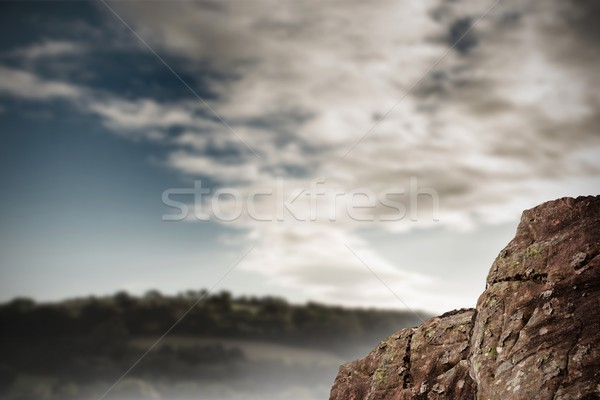 Large rock overlooking vast forest Stock photo © wavebreak_media