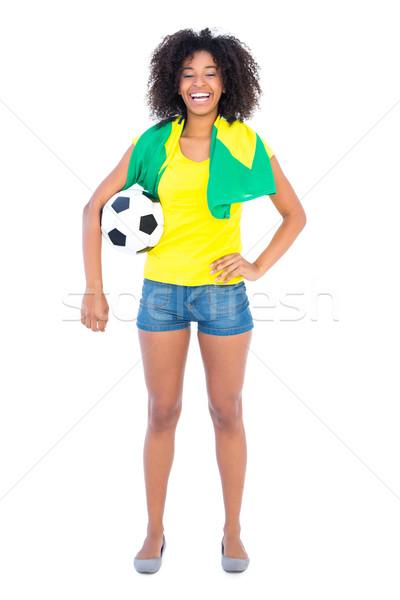 Foto stock: Bastante · futebol · ventilador · bandeira · sorridente
