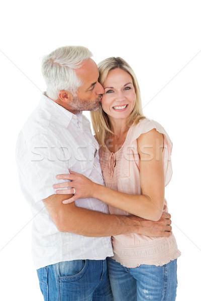 Zärtlich Mann Küssen Ehefrau Wange weiß Stock foto © wavebreak_media