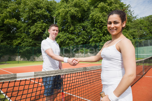 Photo stock: Tennis · serrer · la · main · match · sport · fitness