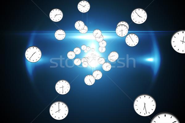 Cyfrowo wygenerowany zegar wzór czarny Zdjęcia stock © wavebreak_media