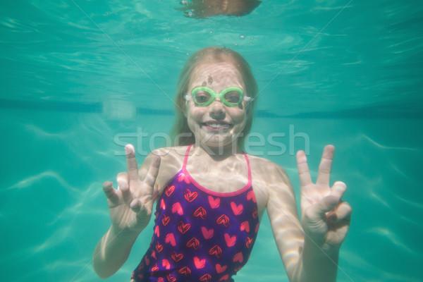 可愛 孩子 冒充 水下 水池 閒暇 商業照片 © wavebreak_media