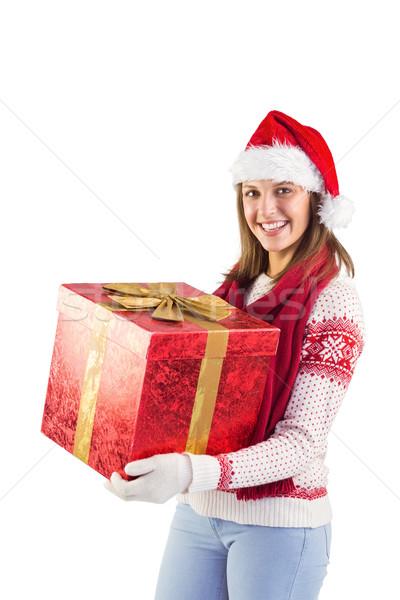 Młoda kobieta elegancki ciepłe ubrania dar biały Zdjęcia stock © wavebreak_media