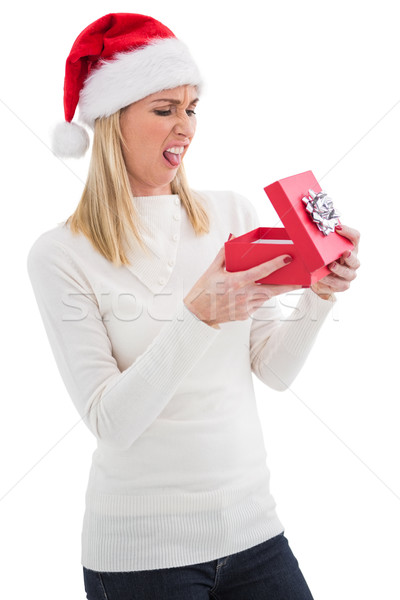 Hayal kırıklığına uğramış açılış Noel hediye beyaz Stok fotoğraf © wavebreak_media