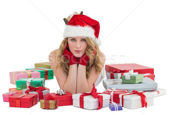 Stok fotoğraf: Kadın · şapka · zemin · hediyeler