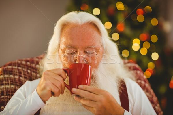Apa karácsony iszik forró ital otthon Stock fotó © wavebreak_media