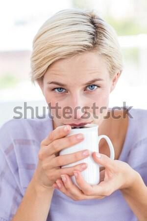 Dość kanapie pitnej gorący napój domu Zdjęcia stock © wavebreak_media