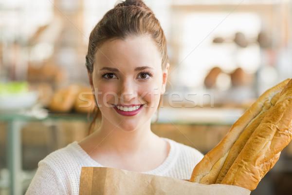 かなり ブルネット 袋 パン ベーカリー ビジネス ストックフォト © wavebreak_media