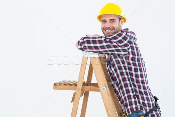 Сток-фото: улыбаясь · скалолазания · лестнице · портрет · белый