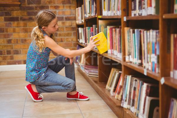 Aranyos kislány kiválaszt könyv könyvtár oldalnézet Stock fotó © wavebreak_media