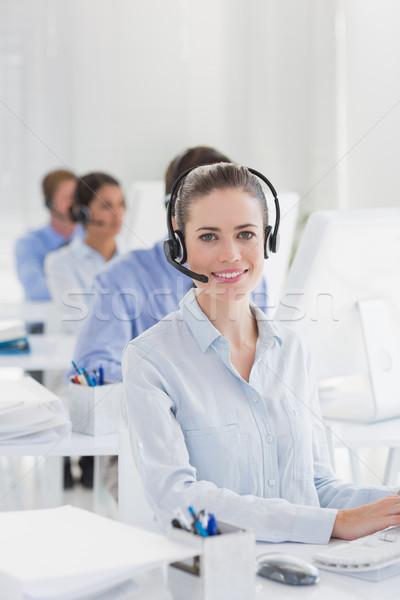 Equipe de negócios trabalhando informática call center mulher Foto stock © wavebreak_media