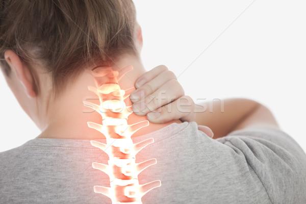 Wervelkolom vrouw nekpijn digitale composiet gezondheid Rood Stockfoto © wavebreak_media